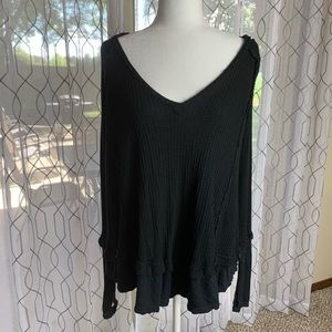 Free People Super Soft Oversized Black Top XS